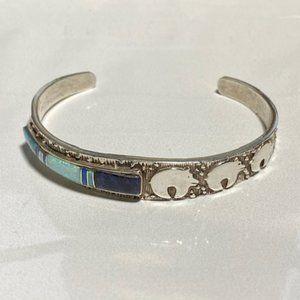 Sterling Silver Bear Inlay Cuff